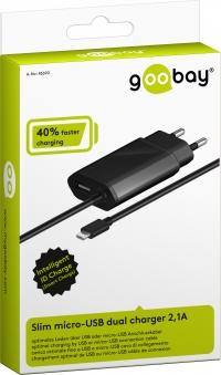 Goobay Slim Micro-USB dual charger 2,1A