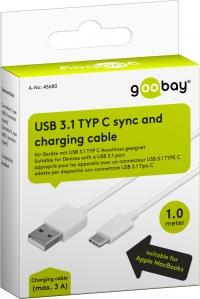 Goobay USB-C™ laadimiskaabel, valge